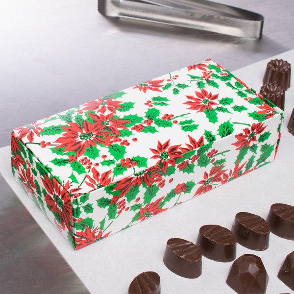 "7 1/8"" x 3 3/8"" x 1 7/8"" 1-Piece 1 lb. Poinsettia / Holiday Candy Box - 250/Case"
