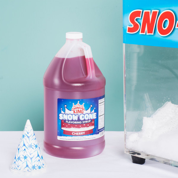 Carnival King 1 Gallon Cherry Snow Cone Syrup - 4/Case Main Image 2