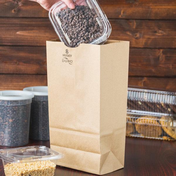 Duro Husky Heavy-Duty 8 lb. Brown Paper Bag - 500/Bundle