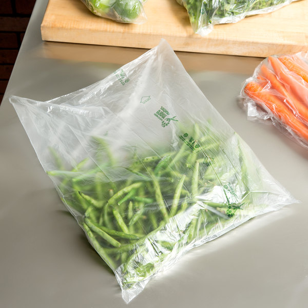 """Inteplast Group NP14X18MM Fresh 4 You 14"""" x 18"""" Natural Translucent Narrow Profile Plastic Produce Bag with More Matters Graphic - 3000/Case"""