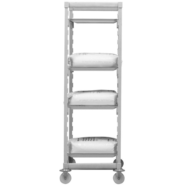 "Cambro CPHU213675S4480 Camshelving® Premium High Density Mobile Shelving Unit with 4 Solid Shelves - 21"" x 36"" x 75"""