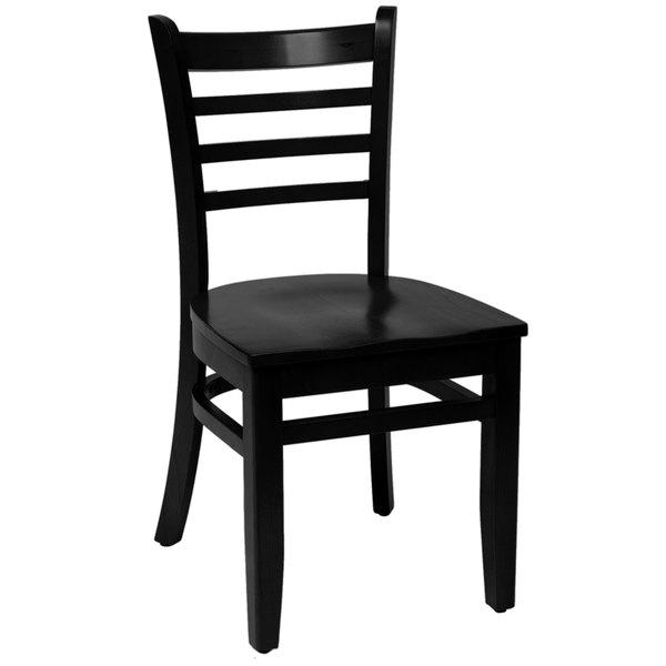 BFM Seating LWC101BLBLW Burlington Black Colored Beechwood Side Chair Main Image 1