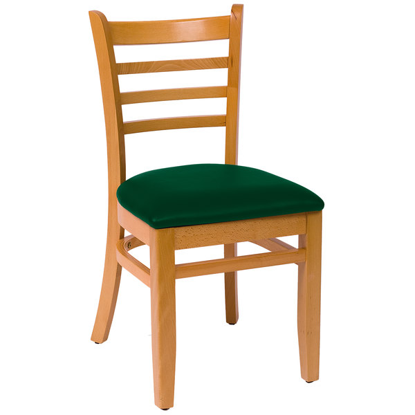 "BFM Seating LWC101NTGNV Burlington Natural Colored Beechwood Side Chair with 2"" Green Vinyl Seat"