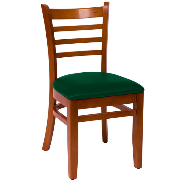 "BFM Seating LWC101CHGNV Burlington Cherry Colored Beechwood Side Chair with 2"" Green Vinyl Seat"
