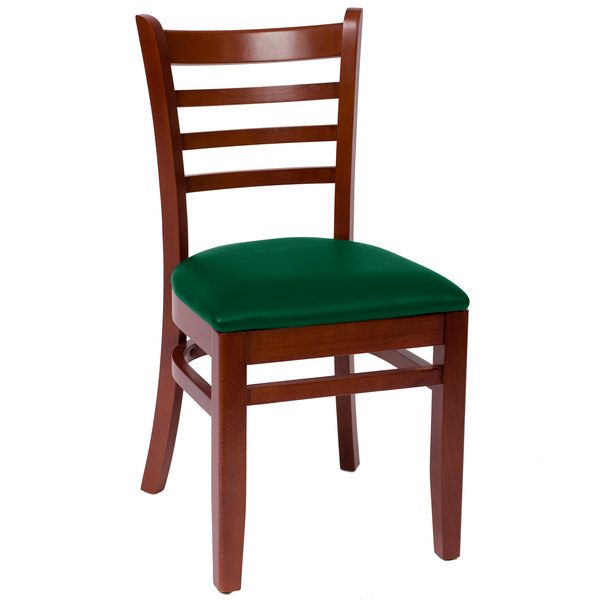 "BFM Seating LWC101MHGNV Burlington Mahogany Colored Beechwood Side Chair with 2"" Green Vinyl Seat"