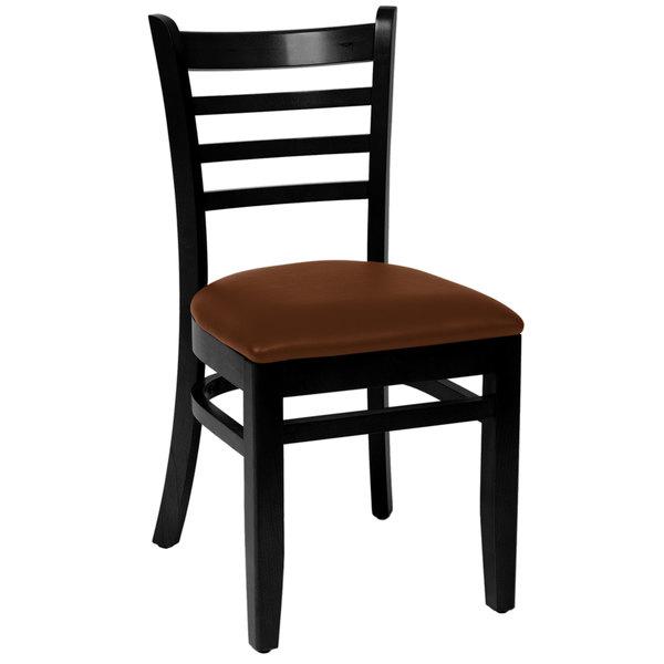 "BFM Seating LWC101BLLBV Burlington Black Colored Beechwood Side Chair with 2"" Light Brown Vinyl Seat Main Image 1"