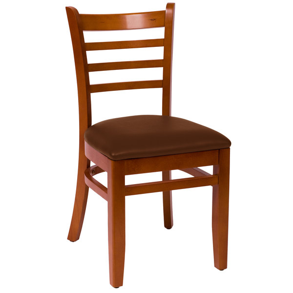 """BFM Seating LWC101CHLBV Burlington Cherry Colored Beechwood Side Chair with 2"""" Light Brown Vinyl Seat Main Image 1"""