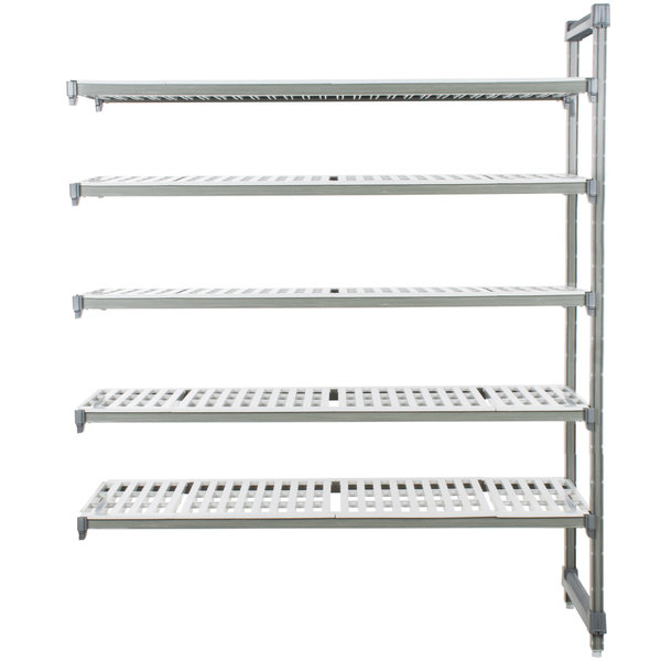 "Cambro EA183684V5580 Camshelving® Elements 5 Shelf Vented Add On Unit - 18"" x 36"" x 84"""