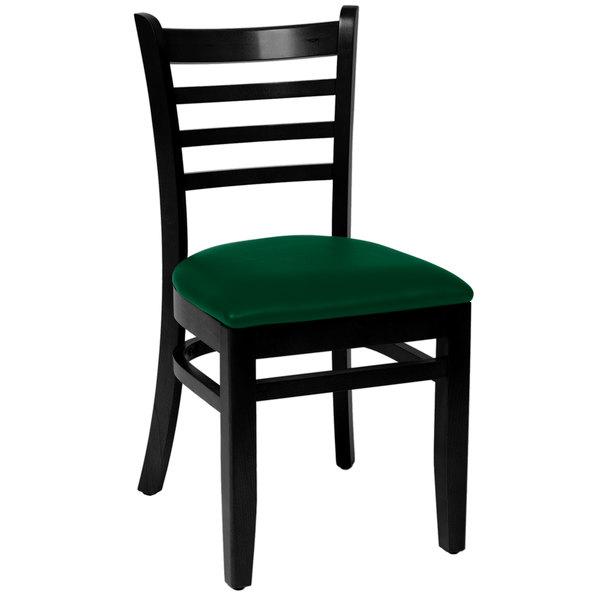 "BFM Seating LWC101BLGNV Burlington Black Colored Beechwood Side Chair with 2"" Green Vinyl Seat Main Image 1"