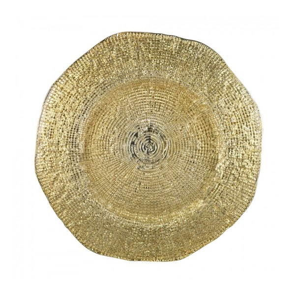 """10 Strawberry Street DIAMNT-340 13 1/4"""" Diamante Nouve Glass Charger Plate"""