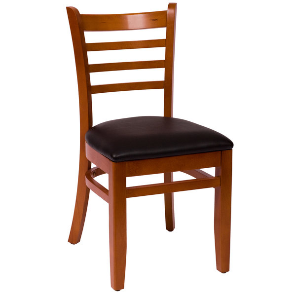 "BFM Seating LWC101CHBLV Burlington Cherry Colored Beechwood Side Chair with 2"" Black Vinyl Seat Main Image 1"