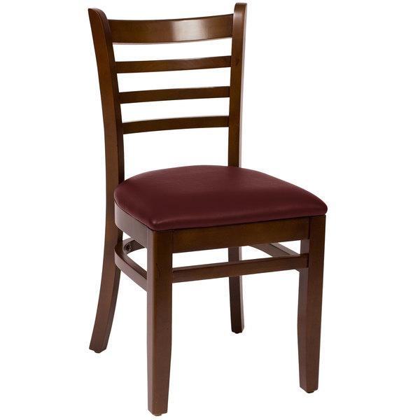 "BFM Seating LWC101WABUV Burlington Walnut Colored Beechwood Side Chair with 2"" Burgundy Vinyl Seat Main Image 1"