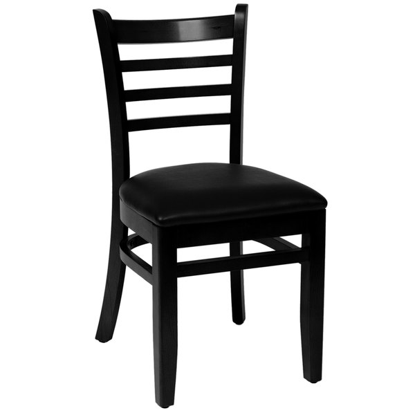 "BFM Seating LWC101BLBLV Burlington Black Colored Beechwood Side Chair with 2"" Black Vinyl Seat Main Image 1"