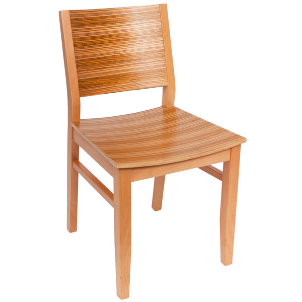 BFM Seating SWC306NT-TG Oxford Natural Colored Beechwood Side Chair with Tigerwood Back and Seat Main Image 1