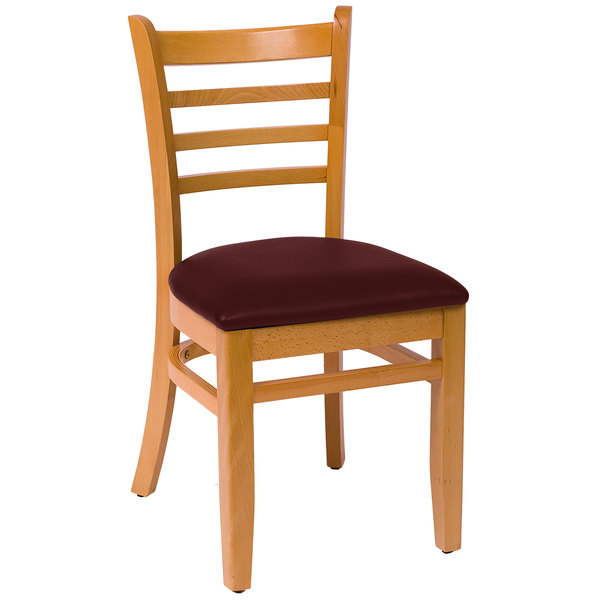 """BFM Seating LWC101NTBUV Burlington Natural Colored Beechwood Side Chair with 2"""" Burgundy Vinyl Seat"""
