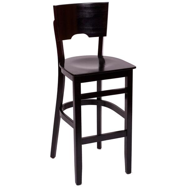 BFM Seating SWB304EB-EB Weston Ebony Colored Beechwood Bar Height Chair Main Image 1
