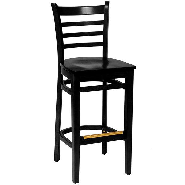 BFM Seating LWB101BLBLW Burlington Black Colored Beechwood Bar Height Chair Main Image 1