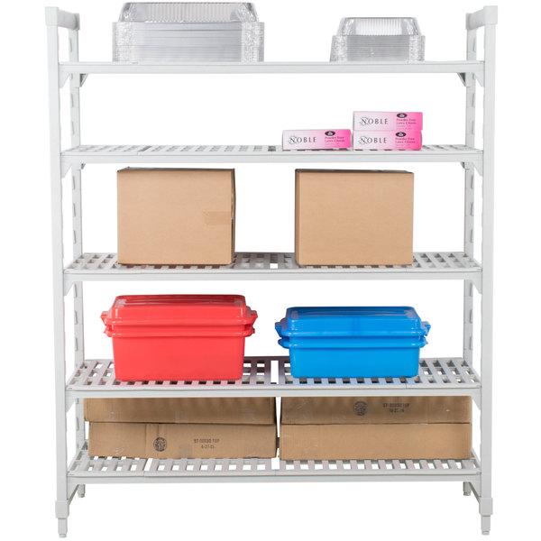 "Cambro CPU242464V5480 Camshelving® Premium Shelving Unit with 5 Vented Shelves - 24"" x 24"" x 64"""