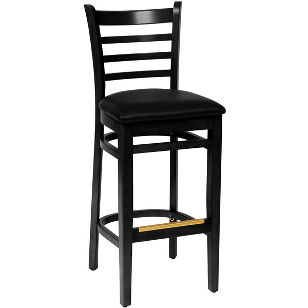 "BFM Seating LWB101BLBLV Burlington Black Colored Beechwood Bar Height Chair with 2"" Black Vinyl Seat"