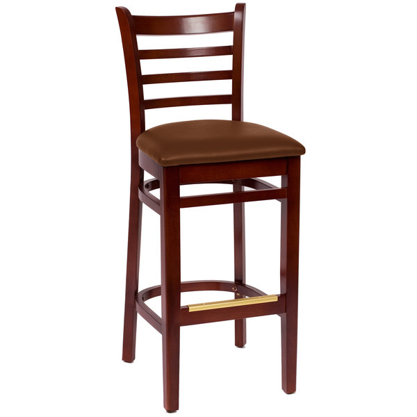 "BFM Seating LWB101MHLBV Burlington Mahogany Colored Beechwood Bar Height Chair with 2"" Light Brown Vinyl Seat Main Image 1"