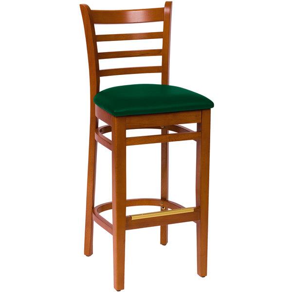 "BFM Seating LWB101CHGNV Burlington Cherry Colored Beechwood Bar Height Chair with 2"" Green Vinyl Seat"