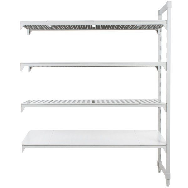 "Cambro CPA183064VS4480 Camshelving® Premium Stationary Add-On Shelving Unit with 3 Vented Shelves and 1 Solid Shelf - 18"" x 30"" x 64"""