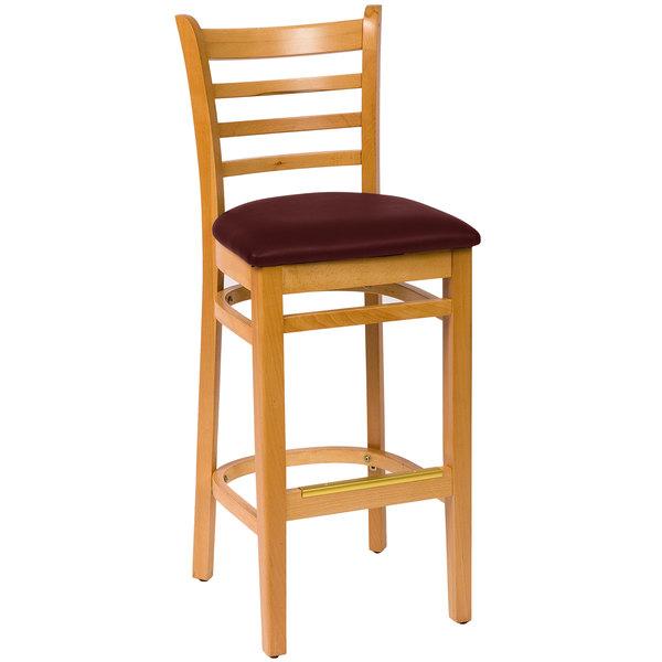"BFM Seating LWB101NTBUV Burlington Natural Colored Beechwood Bar Height Chair with 2"" Burgundy Vinyl Seat"