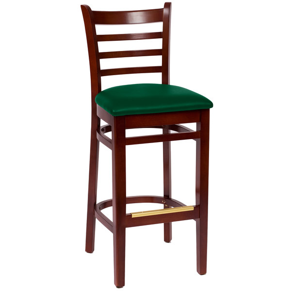 "BFM Seating LWB101MHGNV Burlington Mahogany Colored Beechwood Bar Height Chair with 2"" Green Vinyl Seat Main Image 1"