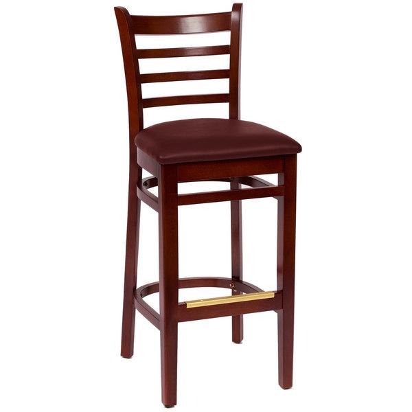 "BFM Seating LWB101MHBUV Burlington Mahogany Colored Beechwood Bar Height Chair with 2"" Burgundy Vinyl Seat"