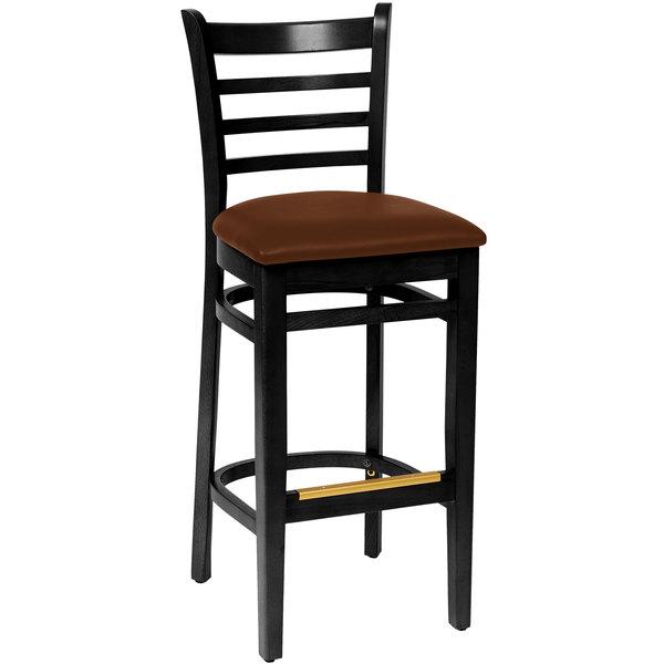 "BFM Seating LWB101BLLBV Burlington Black Colored Beechwood Bar Height Chair with 2"" Light Brown Vinyl Seat"