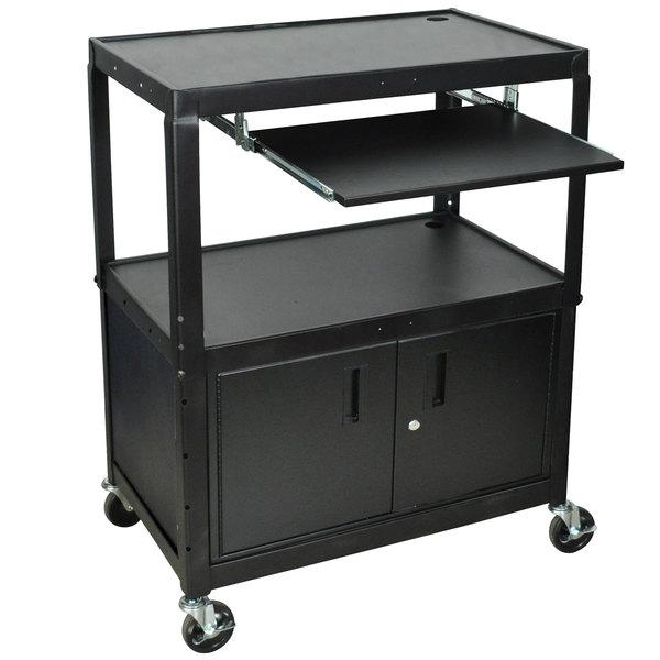 Luxor AVJ42XLKBC Adjustable Height Black A/V Cart with Keyboard Shelf and Locking Cabinet