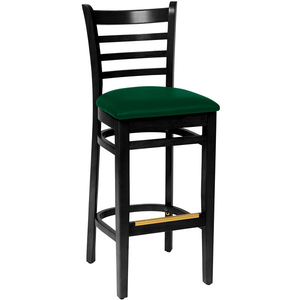 "BFM Seating LWB101BLGNV Burlington Black Colored Beechwood Bar Height Chair with 2"" Green Vinyl Seat"