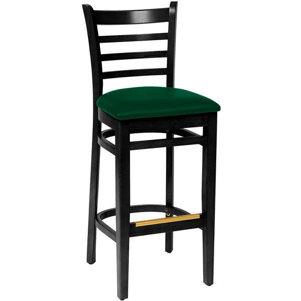 "BFM Seating LWB101BLGNV Burlington Black Colored Beechwood Bar Height Chair with 2"" Green Vinyl Seat"