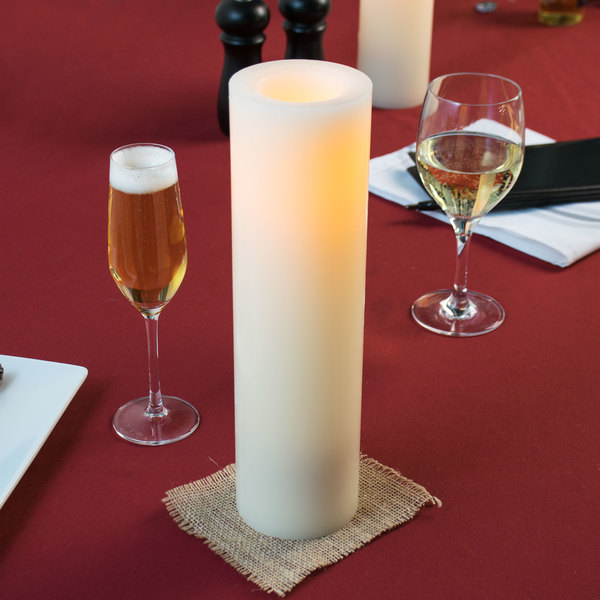 """Sterno Products 60148 12"""" Cream Programmable Flameless Real Wax Pillar Candle - 4/Case"""
