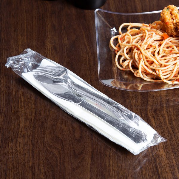 Silver Visions Individually Wrapped Silver Heavy Weight Plastic Cutlery Set with Napkin and Salt and Pepper Packets - 100/Case