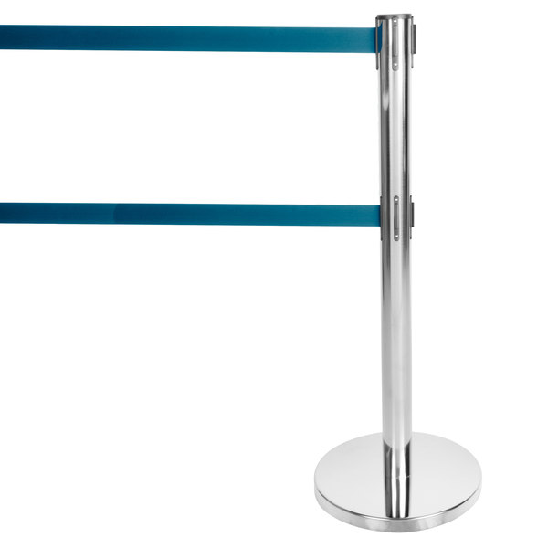 "Aarco HS-27 Satin 40"" Crowd Control / Guidance Stanchion with Dual 84"" Blue Retractable Belts"