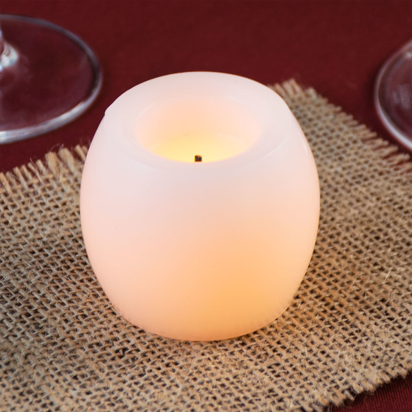 """Sterno Products 60176 2"""" White Flameless Real Wax Mini Hurricane Candle - 20/Case"""