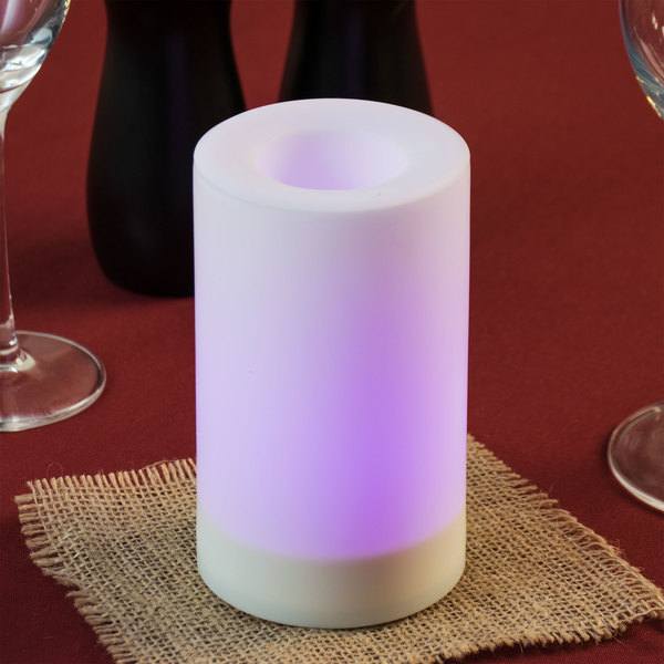 "Sterno Products 60180 5"" White Flameless Outdoor Banquet Pillar Candle with Color Changing Feature - 24/Case"