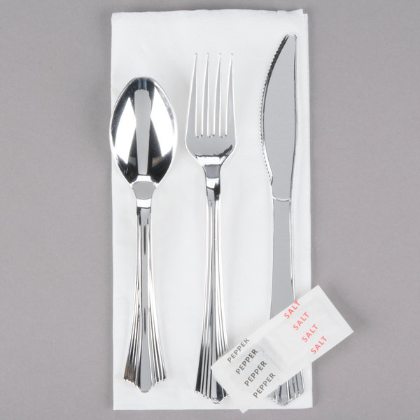 Add style and convenience to any table setting with this Silver Visions wrapped cutlery set! & Silver Visions Inidually Wrapped Silver Heavy Weight Plastic ...