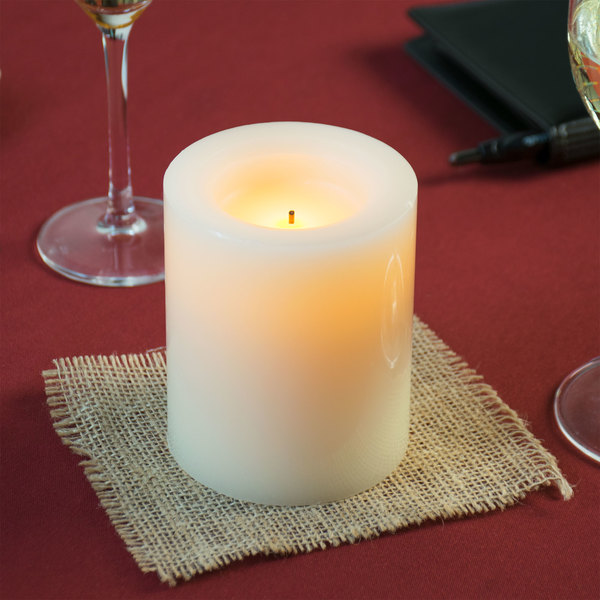 "Sterno Products 60140 4"" Cream Programmable Flameless Real Wax Pillar Candle - 6/Case"