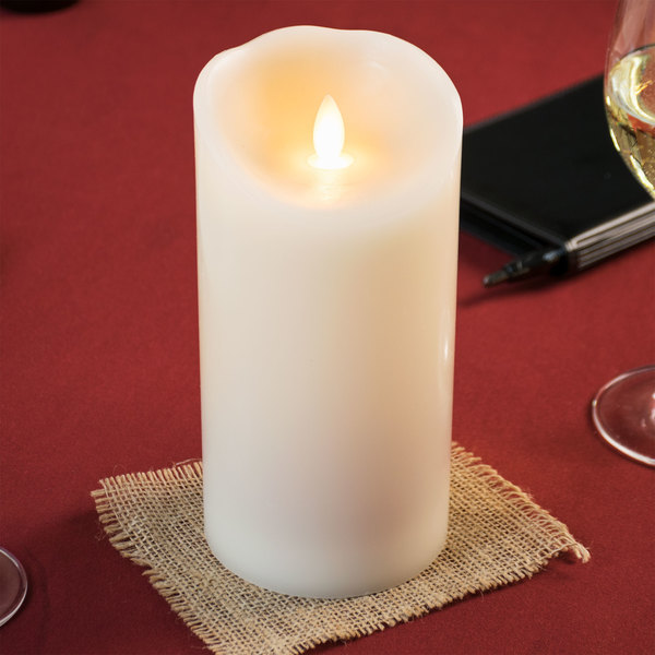 """Sterno Products 60152 Mirage 7 1/2"""" Cream Programmable Flameless Flickering LED Candle - 6/Case"""