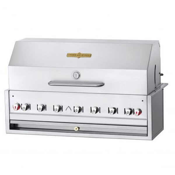 "Crown Verity BI-48PKG Natural Gas 48"" Stainless Steel Built In Outdoor BBQ Grill / Charbroiler with Roll Dome Package Main Image 1"