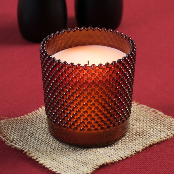 """Sterno 60186 Hobnail 3 1/2"""" Rouge Flameless Wax Filled Glass Lamp - 4/Case Main Image 6"""