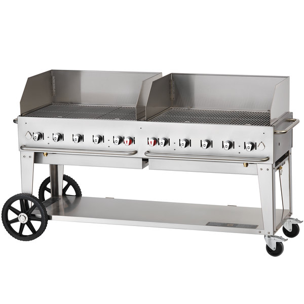 """Crown Verity MCB-72WGP Liquid Propane 72"""" Mobile Outdoor Grill with Wind Guard Package"""