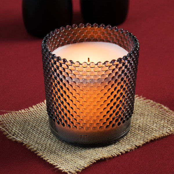 """Sterno Products 60182 Hobnail 3 1/2"""" Gray Flameless Wax Filled Glass Lamp - 4/Case"""