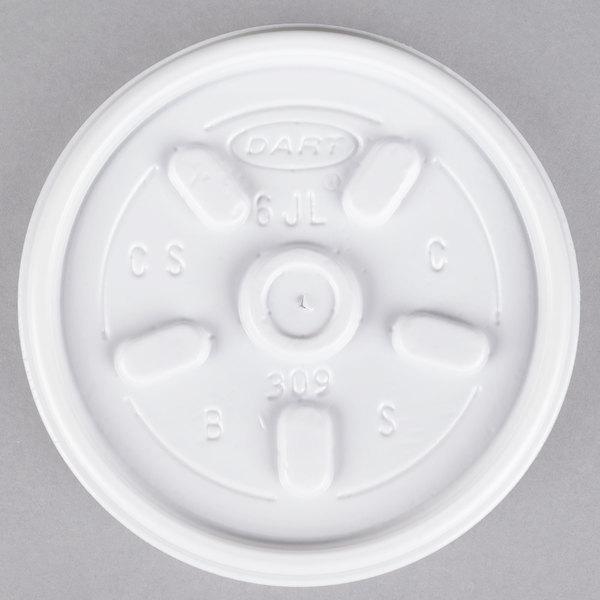 Dart 6JL White Vented Lid - 100/Pack
