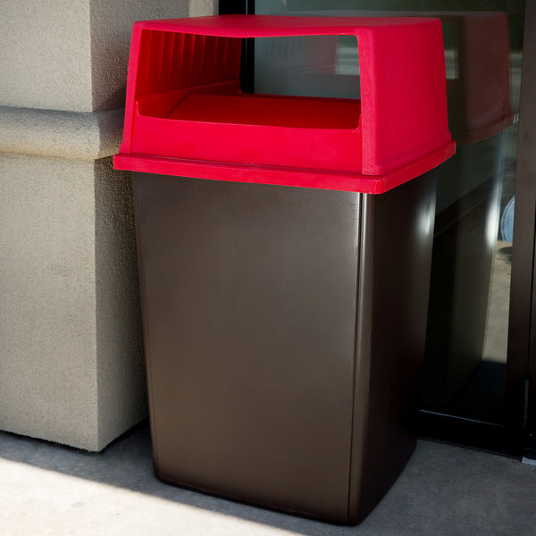 Rubbermaid Glutton 56 Gallon Brown Rectangular Trash Can and Red Lid with Doors Main Image 3