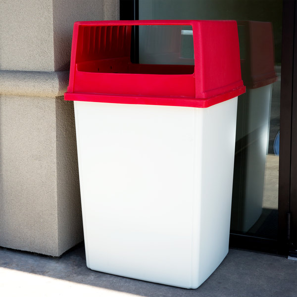 Rubbermaid Glutton 56 Gallon White Trash Can and Red Lid