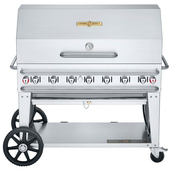 "Crown Verity RCB-48RDP Liquid Propane 48"" Pro Series Outdoor Rental Grill with Roll Dome Package Main Image 1"
