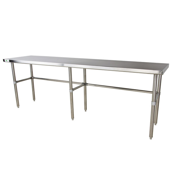 "Regency 30"" x 96"" 16-Gauge 304 Stainless Steel Commercial Open Base Work Table Main Image 1"